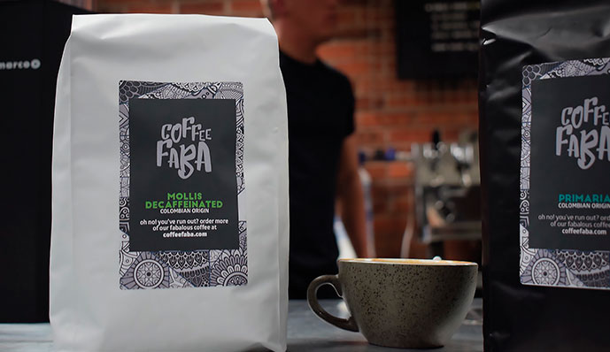 Coffee Faba black and white packaging designs