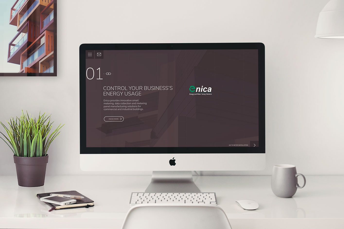 Enica web design on an iMac