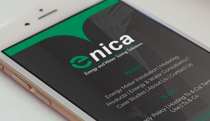 Enica web design on a phone