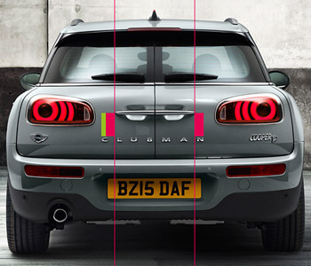 Rear of Mini Clubman showing misaligned text